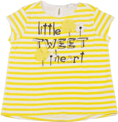 Sera Striped Girl,s Round Neck Yellow T-Shirt