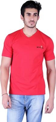 Metaloak Embroidered Men,s V-neck Red T-Shirt