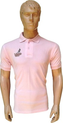 VSP Solid Men's Polo Neck Pink T-Shirt