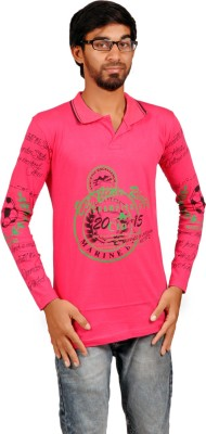 Harsha Printed Men's Polo Neck Pink T-Shirt