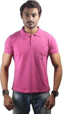 Spur Solid Men's Polo Neck Pink T-Shirt