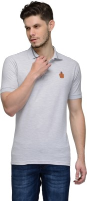 Canary London Solid Men's Polo Neck Grey T-Shirt