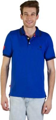 Goodluck Solid Men's Polo Neck Blue, Black T-Shirt