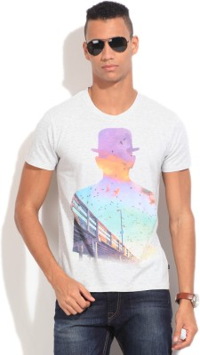 United Colors of Benetton Printed Men's Round Neck Grey T-Shirt