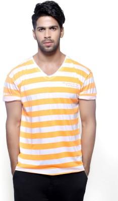 Fashnopolism Striped Men's Round Neck Yellow T-Shirt