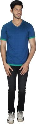 Grapes Plus Solid Men's V-neck Blue T-Shirt