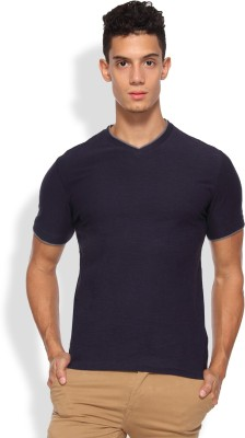 Arise Solid Men's V-neck Dark Blue T-Shirt