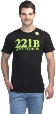 Sherlock Holmes Printed Men's Round Neck Black T-Shirt