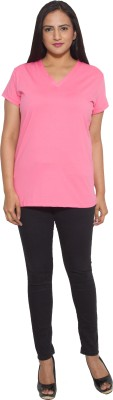 Finesse Solid Women's V-neck Pink T-Shirt