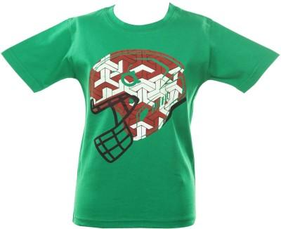 Anthill Graphic Print Boy's Round Neck Green T-Shirt