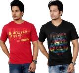 Eco Trend Printed Men's V-neck Black T-S...