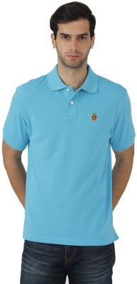 Fahrenheit Solid Men's Polo Neck Light Blue T-Shirt