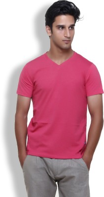 Furious Active Solid Men's V-neck Red T-Shirt