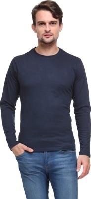 Flippd Solid Men's Round Neck Dark Blue T-Shirt
