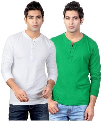 Top Notch Solid Men's Henley White, Green T-Shirt