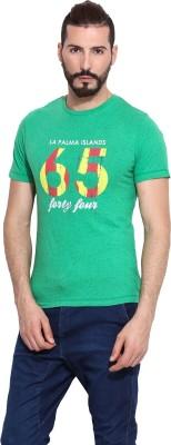 Camino Printed Men's Round Neck Green T-Shirt