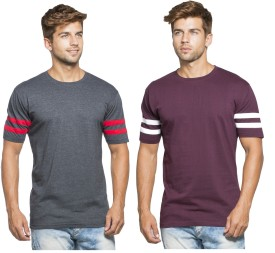 Alan Jones Solid Men's Round Neck Grey, Red T-Shirt(Pack of 2)