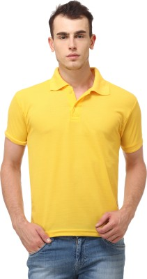 Lime Fashion Solid Men's Polo Yellow T-Shirt
