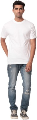 Heed Solid Men's Round Neck White T-Shirt