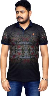 Navratna Nxt Floral Print Men,s Flap Collar Neck Black T-Shirt