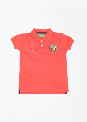 Palm Tree Solid Boy's Polo Red T-Shirt