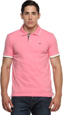 Arrow Sport Solid Men's Polo Neck Pink T-Shirt