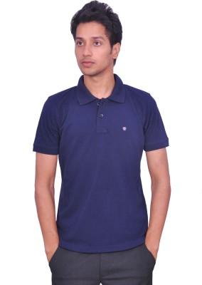 LEAF Solid Men's Polo Blue T-Shirt