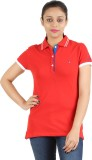 Astrix Solid Women's Polo Neck Red T-Shi...