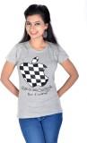 Vivaa Printed Women's Round Neck Grey T-...