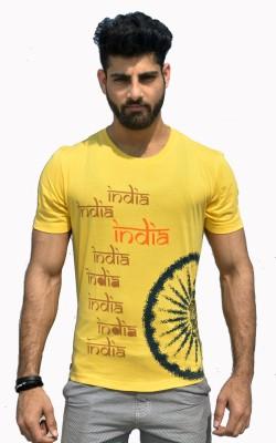 Geesa Printed Men's Round Neck Yellow T-Shirt