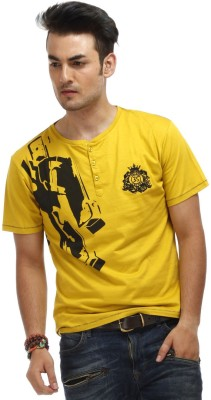 Chlorophile Printed Men's Henley Yellow T-Shirt