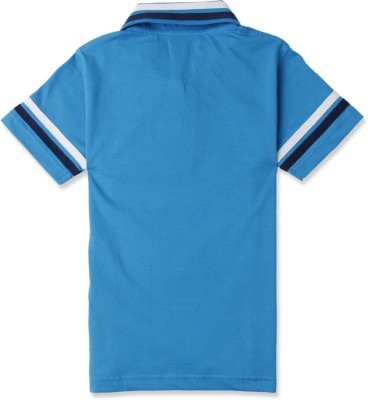 London Fog Solid Boy's Polo Neck Blue T-Shirt