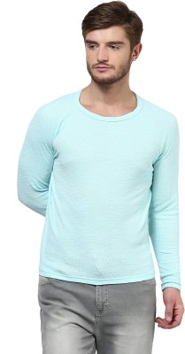 Henry and Smith Solid Men's Round Neck Blue T-Shirt