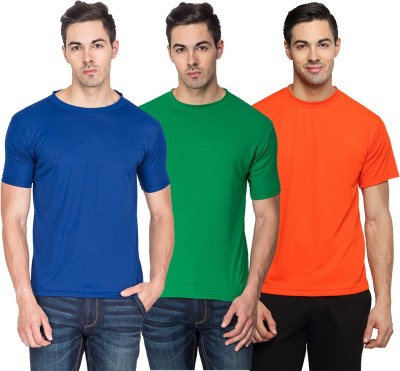 TerraVulc Solid Men's Round Neck Blue, Green, Orange T-Shirt