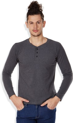 GHPC Solid Men's Henley Grey T-Shirt