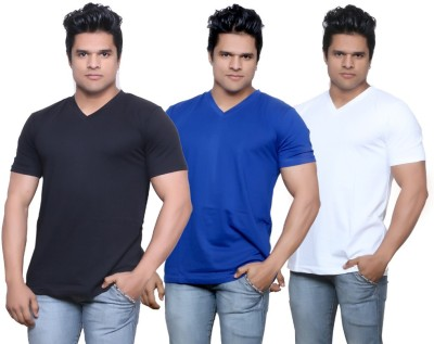 IndiStar Solid Men's Fashion Neck Black, Blue, White T-Shirt
