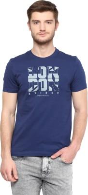 London Bridge Solid Men's Round Neck Dark Blue T-Shirt