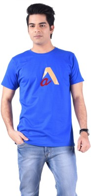 Acasual Wear Printed Men's Round Neck Blue T-Shirt