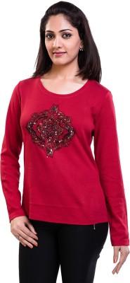 TVENO Self Design Women's Round Neck Red T-Shirt