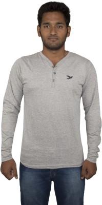 SportX Solid Men's Henley Grey T-Shirt