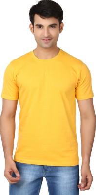Essentiele Solid Men's Round Neck Yellow T-Shirt