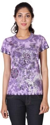 ESPRESSO Printed Women's Round Neck Purple T-Shirt