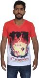 Uniqe Printed Men's V-neck Red T-Shirt