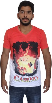 Uniqe Printed Men's V-neck Red T-Shirt