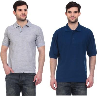 Blue-Tuff Solid Men,s Polo Neck Grey, Dark Blue T-Shirt