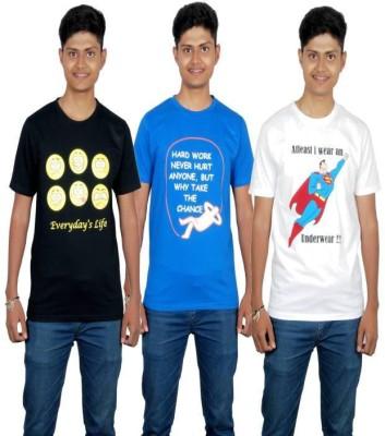 Molecules Printed Men's Round Neck Black, Blue, White T-Shirt