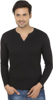 Fashcom Solid Men's Henley Black T-Shirt