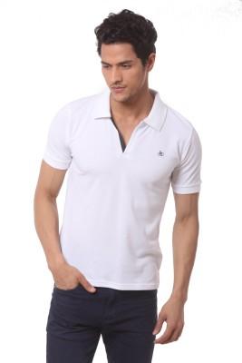 Saadgi Solid Men's Polo Neck White T-Shirt