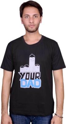 Swadesistuff Printed Men's Round Neck Black, White, Blue T-Shirt