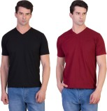 Kaizen Solid Men's V-neck Multicolor T-S...